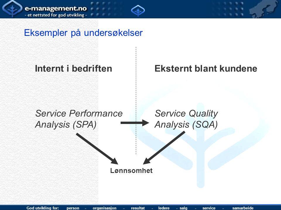 God utvikling for: person - organisasjon - resultat - ledere - salg - service - samarbeide Eksempler på undersøkelser Internt i bedriften Service Performance Analysis (SPA) Eksternt blant kundene Service Quality Analysis (SQA) Lønnsomhet