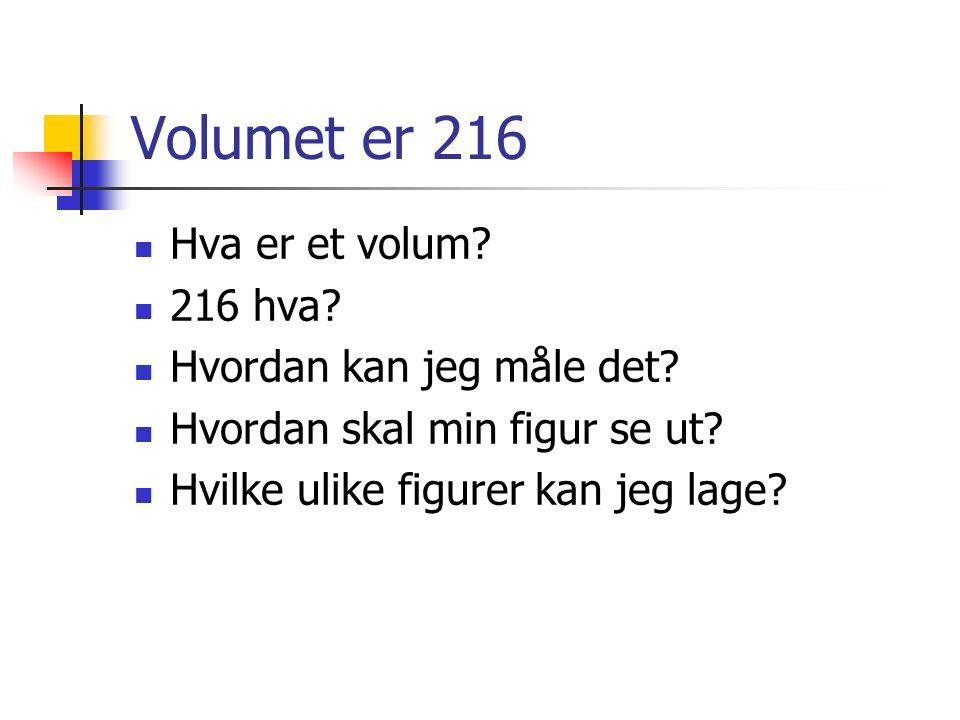 Volumet er 216 Hva er et volum. 216 hva. Hvordan kan jeg måle det.