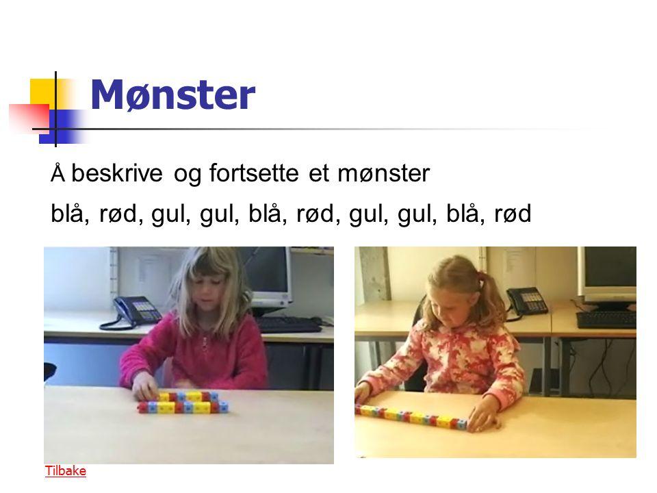 Mønster Å beskrive og fortsette et mønster blå, rød, gul, gul, blå, rød, gul, gul, blå, rød Tilbake