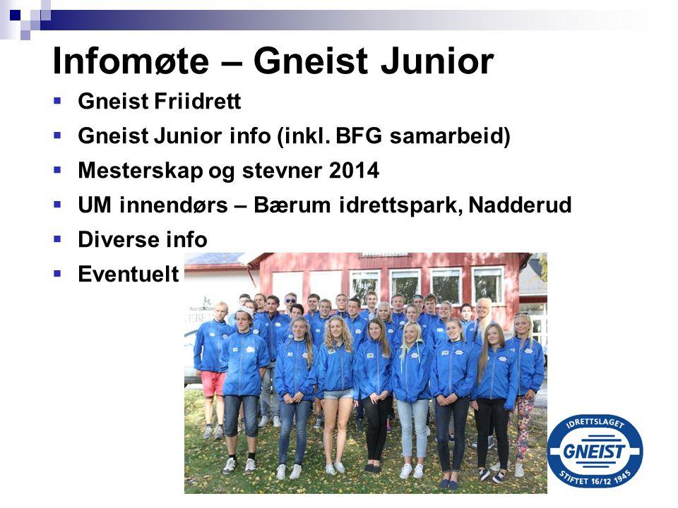 Infomøte – Gneist Junior  Gneist Friidrett  Gneist Junior info (inkl. BFG samarbeid)  Mesterskap og stevner 2014  UM innendørs – Bærum idrettspark