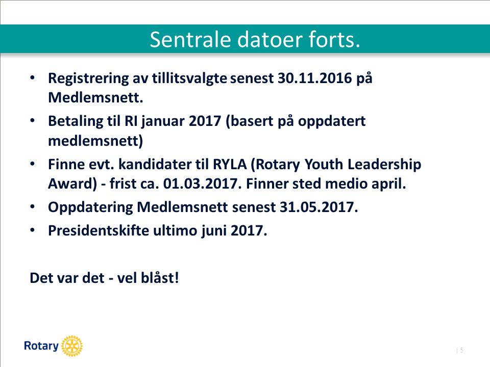 | 5 Sentrale datoer forts. Registrering av tillitsvalgte senest 30.11.2016 på Medlemsnett.