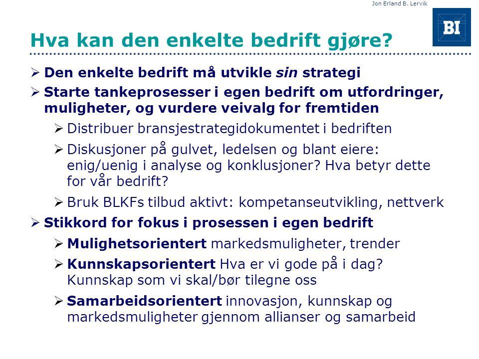 Jon Erland B. Lervik Hva kan den enkelte bedrift gjøre.