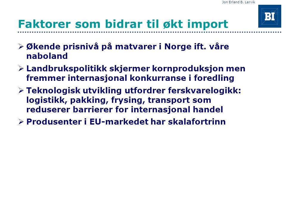 Jon Erland B. Lervik Faktorer som bidrar til økt import  Økende prisnivå på matvarer i Norge ift.