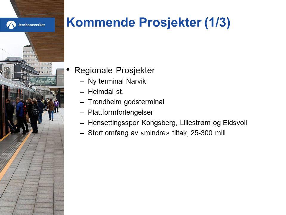 Kommende Prosjekter (1/3) Regionale Prosjekter –Ny terminal Narvik –Heimdal st. –Trondheim godsterminal –Plattformforlengelser –Hensettingsspor Kongsb