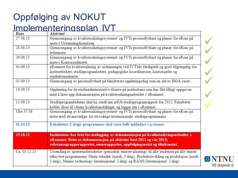 Oppfølging av NOKUT Implementeringsplan IVT DatoAktivitet 27.08.13Gjennomgang av kvalitetssikringssystemet og IVTs prosessflytkart og planer for eRom på møte i Utdanningskomiteen.