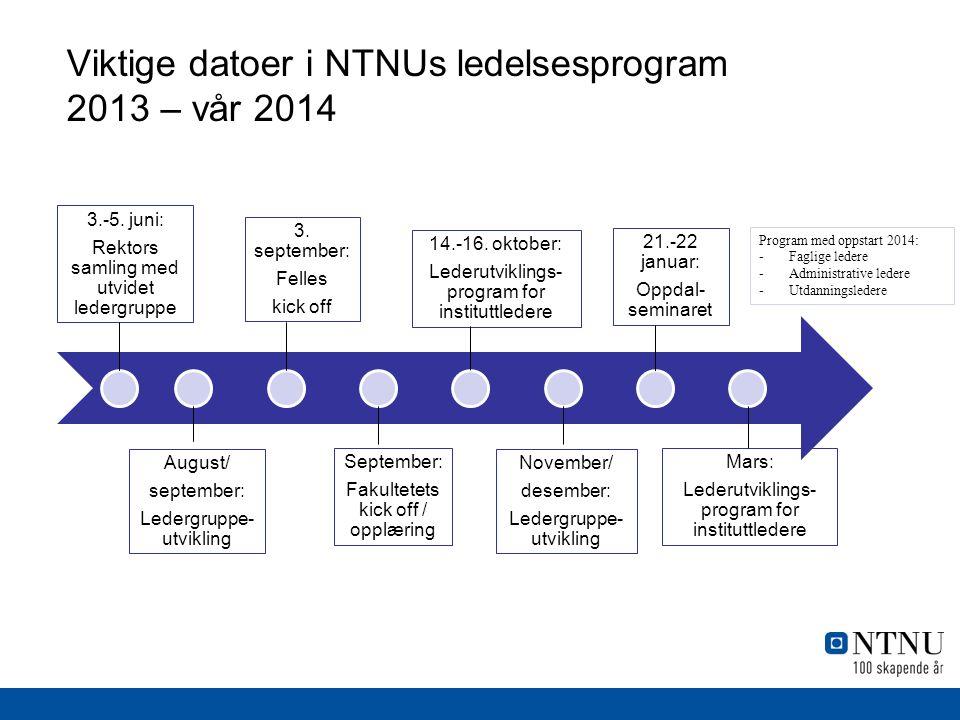 Viktige datoer i NTNUs ledelsesprogram 2013 – vår 2014 3.-5.