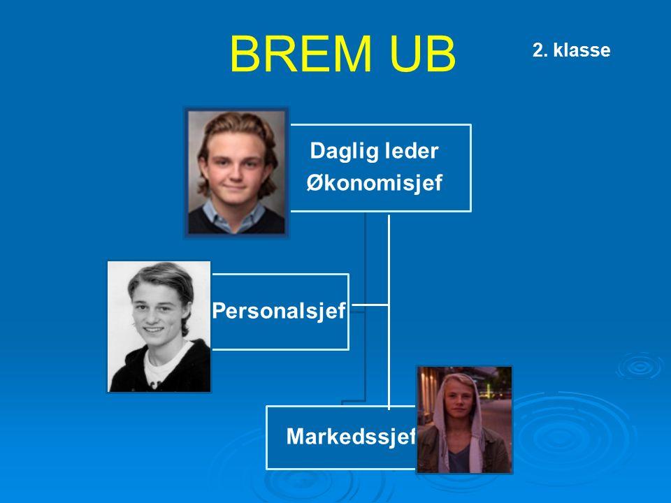 BREM UB Daglig leder Økonomisjef Markedssjef Personalsjef 2. klasse