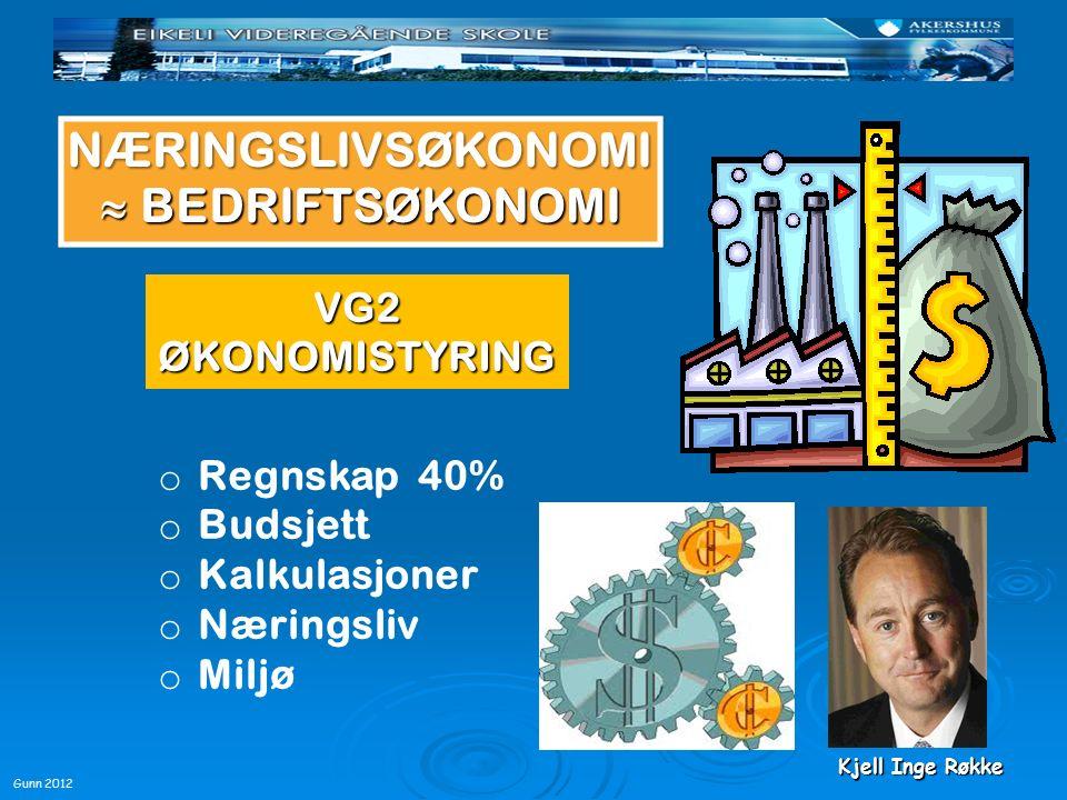 Gunn 2012 VG3 ØKONOMI OG LEDELSE NÆRINGSLIVSØKONOMI  BEDRIFTSØKONOMI Lønnsomhetsanalyser o Marked o Finans o Kapital o Investeringer Ledelse