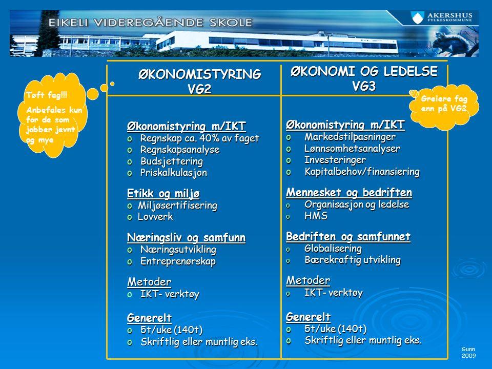 ØKONOMI OG LEDELSE VG3 Økonomistyring m/IKT oMarkedstilpasninger oLønnsomhetsanalyser oInvesteringer oKapitalbehov/finansiering Mennesket og bedriften