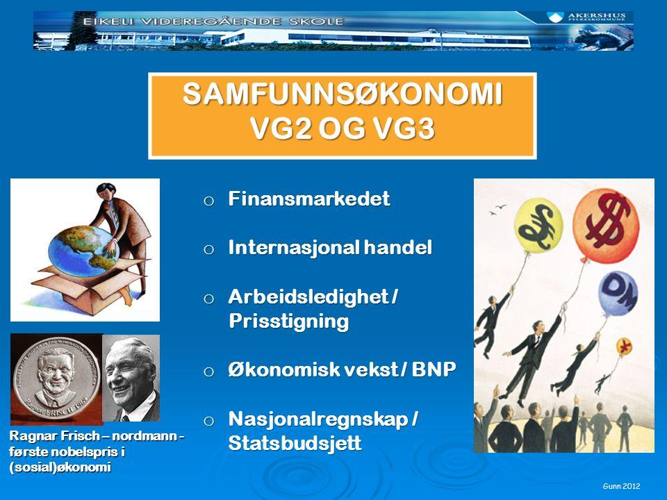 Gunn 2012 Ragnar Frisch – nordmann - første nobelspris i (sosial)økonomi o Finansmarkedet o Internasjonal handel o Arbeidsledighet / Prisstigning Pris