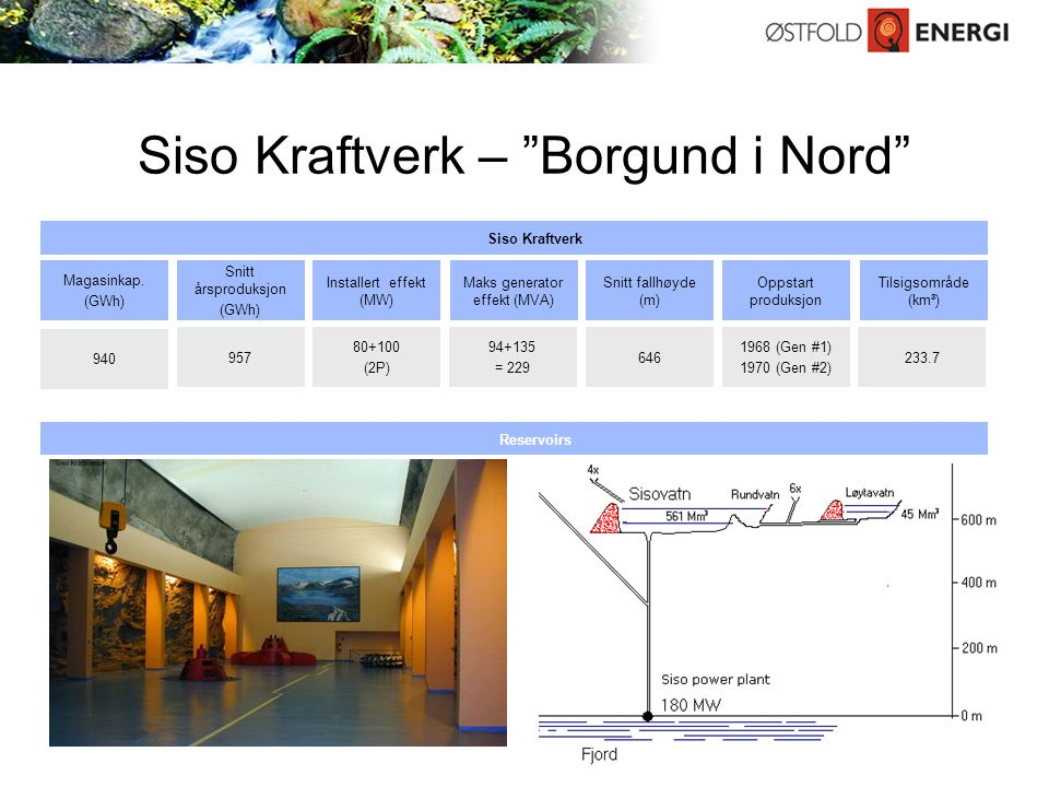 Siso Kraftverk – Borgund i Nord Source: Company information Maks generator effekt (MVA) 94+135 = 229 Installert effekt (MW) 80+100 (2P) Snitt fallhøyde (m) 646 Oppstart produksjon 1968 (Gen #1) 1970 (Gen #2) Tilsigsområde (km³) 233.7 Snitt årsproduksjon (GWh) 957 Reservoirs Magasinkap.