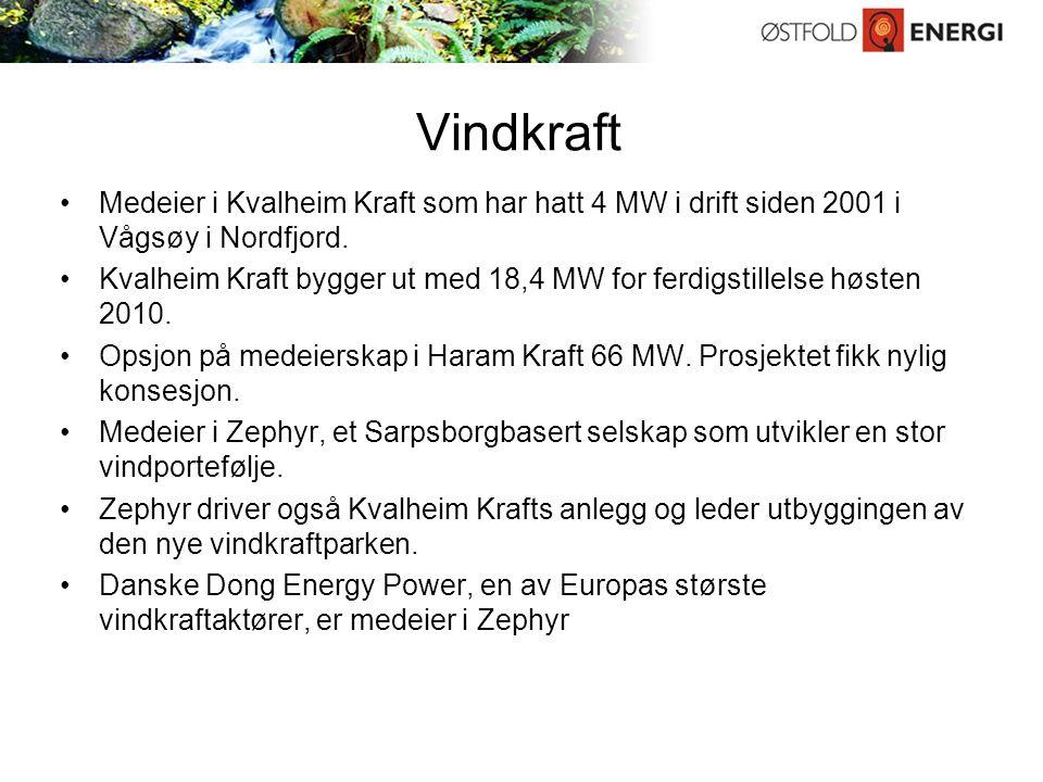 Vindkraft Medeier i Kvalheim Kraft som har hatt 4 MW i drift siden 2001 i Vågsøy i Nordfjord.