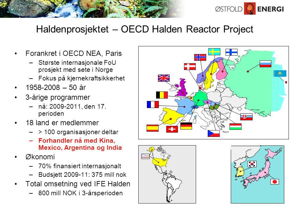 Haldenprosjektet – OECD Halden Reactor Project Forankret i OECD NEA, Paris –Største internasjonale FoU prosjekt med sete i Norge –Fokus på kjernekraftsikkerhet 1958-2008 – 50 år 3-årige programmer –nå: 2009-2011, den 17.
