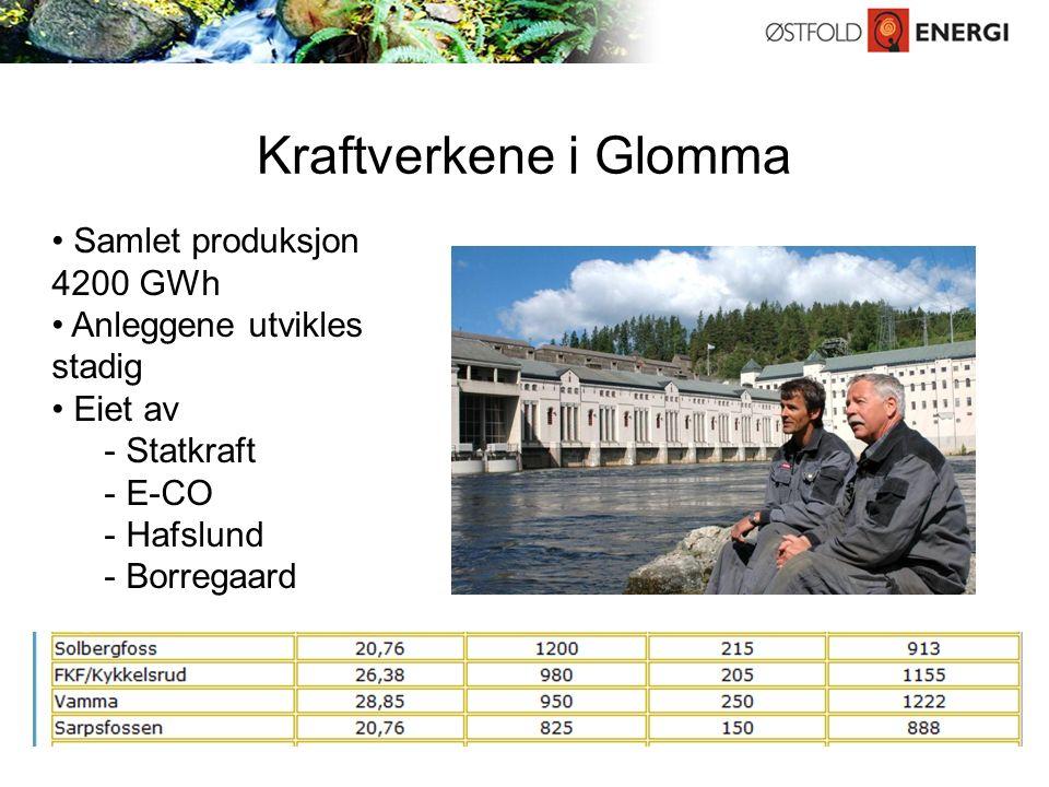 Kraftverkene i Glomma Samlet produksjon 4200 GWh Anleggene utvikles stadig Eiet av - Statkraft - E-CO - Hafslund - Borregaard