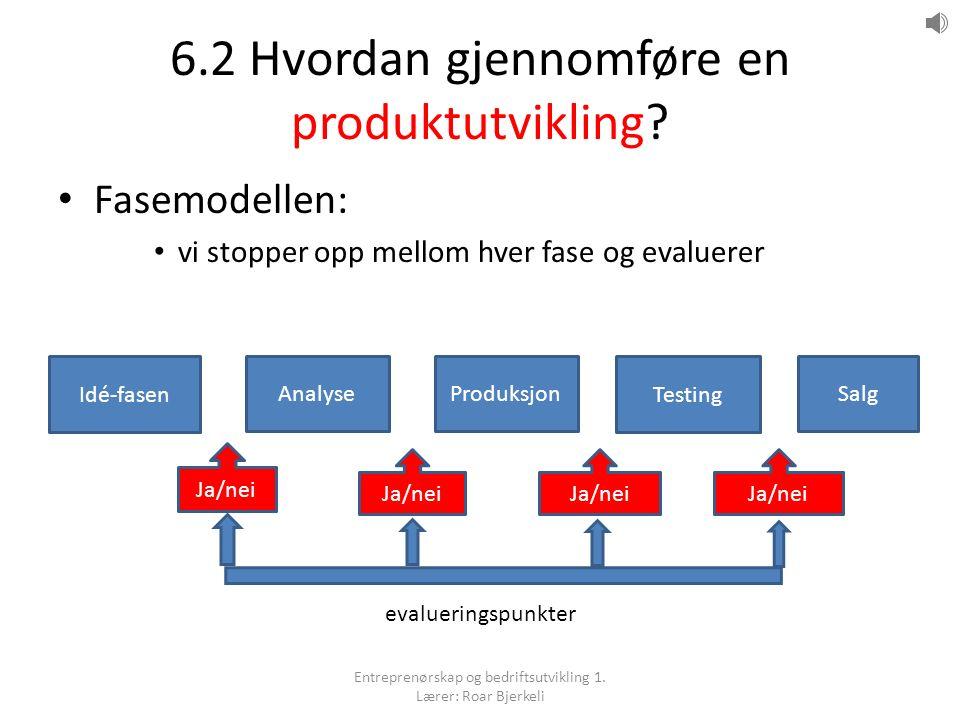 6.2 Hvordan gjennomføre en produktutvikling.