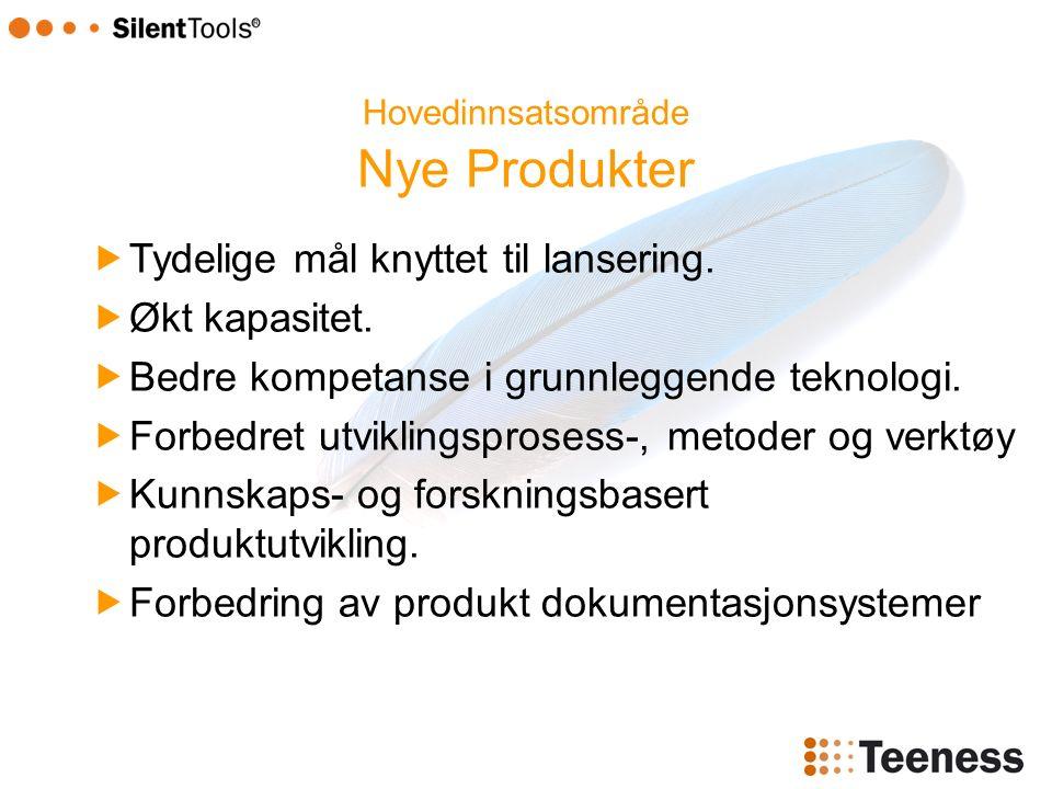 Hovedinnsatsområde Nye Produkter  Tydelige mål knyttet til lansering.