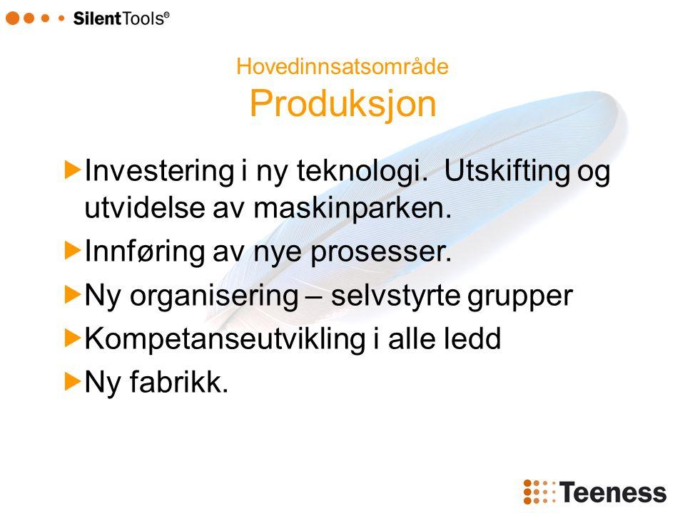 Hovedinnsatsområde Produksjon  Investering i ny teknologi.