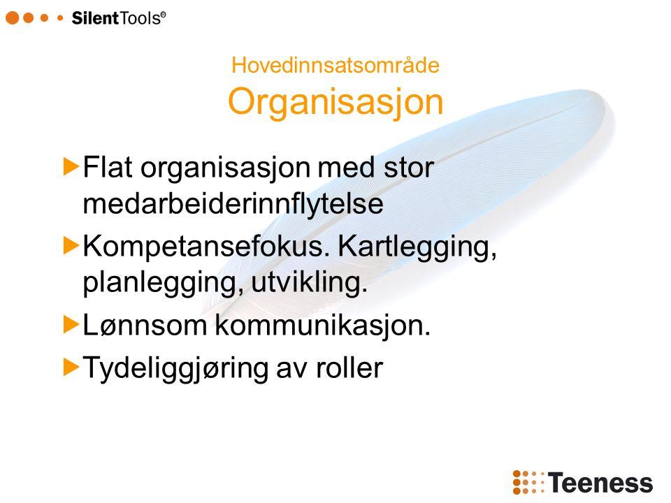 Hovedinnsatsområde Organisasjon  Flat organisasjon med stor medarbeiderinnflytelse  Kompetansefokus.