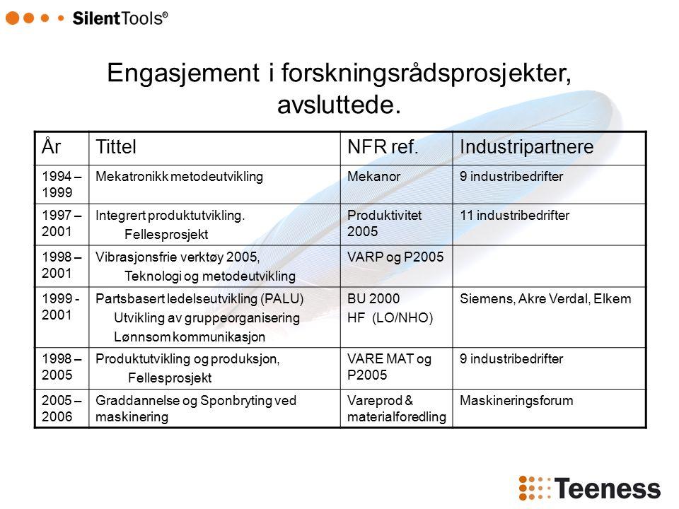 ÅrTittelNFR ref.Industripartnere 1994 – 1999 Mekatronikk metodeutviklingMekanor9 industribedrifter 1997 – 2001 Integrert produktutvikling.