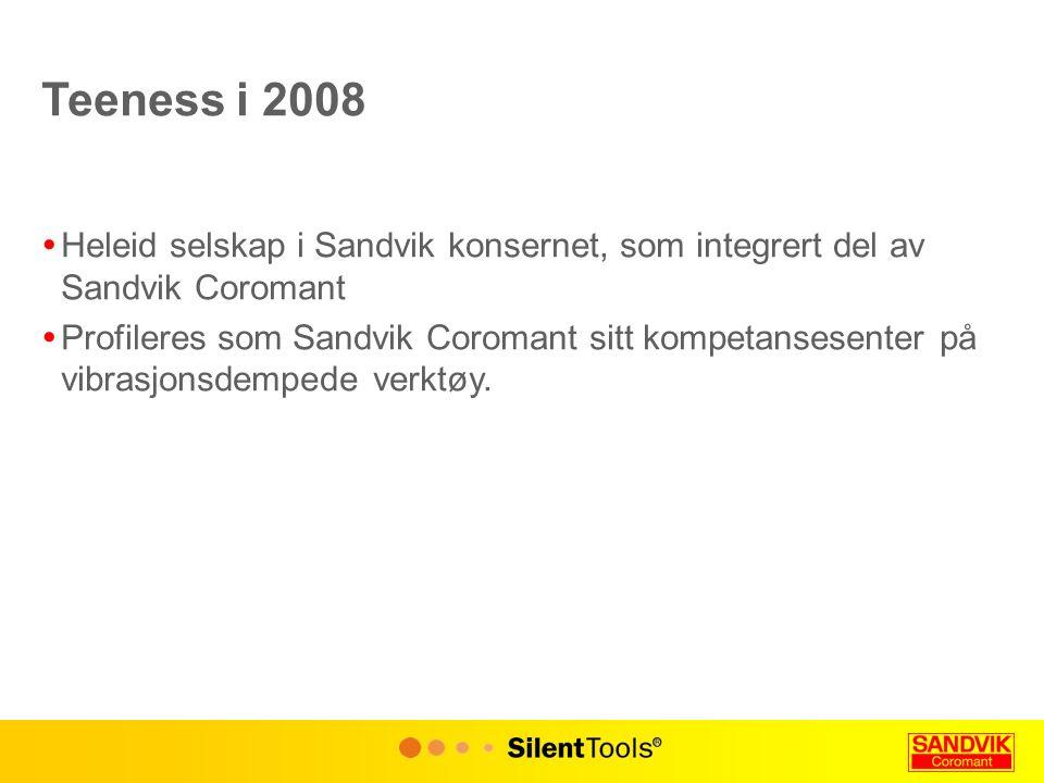 Teeness i 2008  Heleid selskap i Sandvik konsernet, som integrert del av Sandvik Coromant  Profileres som Sandvik Coromant sitt kompetansesenter på vibrasjonsdempede verktøy.
