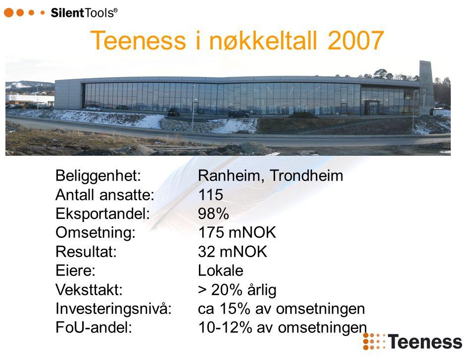 Teeness i nøkkeltall 2007 Beliggenhet:Ranheim, Trondheim Antall ansatte:115 Eksportandel:98% Omsetning:175 mNOK Resultat:32 mNOK Eiere:Lokale Veksttakt:> 20% årlig Investeringsnivå:ca 15% av omsetningen FoU-andel:10-12% av omsetningen