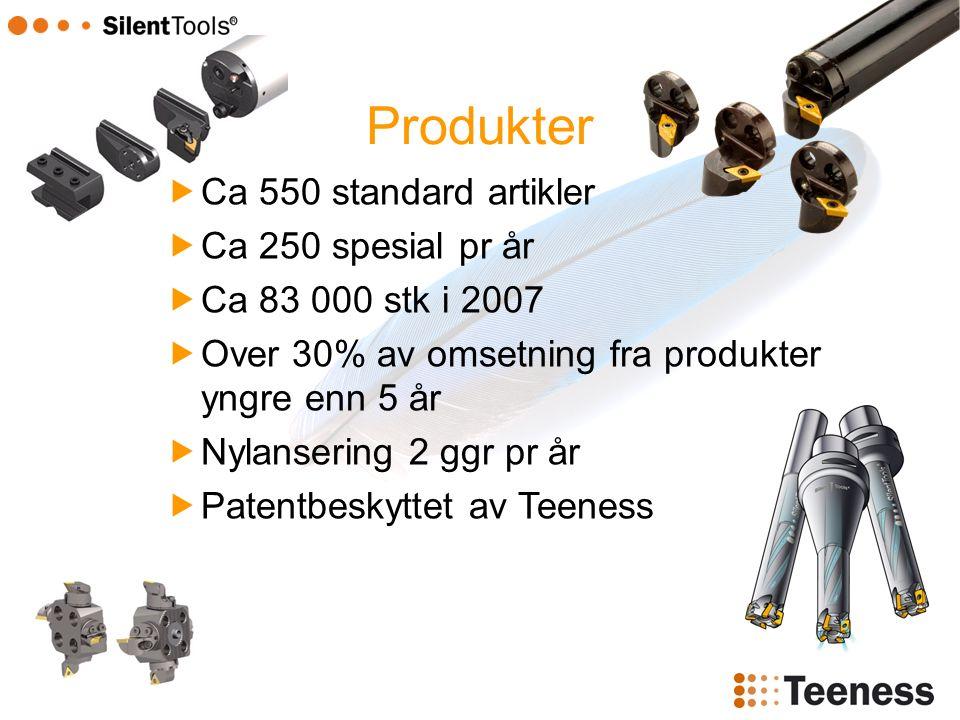 Produkter  Ca 550 standard artikler  Ca 250 spesial pr år  Ca 83 000 stk i 2007  Over 30% av omsetning fra produkter yngre enn 5 år  Nylansering 2 ggr pr år  Patentbeskyttet av Teeness
