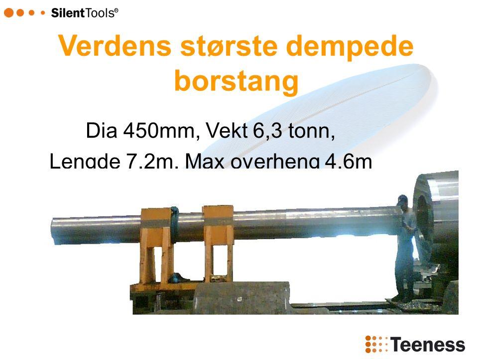 Dia 450mm, Vekt 6,3 tonn, Lengde 7,2m, Max overheng 4,6m Verdens største dempede borstang
