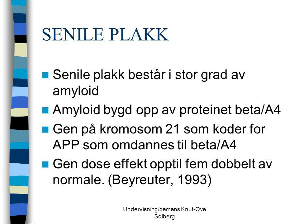 Undervisning/demens Knut-Ove Solberg SENILE PLAKK Senile plakk består i stor grad av amyloid Amyloid bygd opp av proteinet beta/A4 Gen på kromosom 21 som koder for APP som omdannes til beta/A4 Gen dose effekt opptil fem dobbelt av normale.
