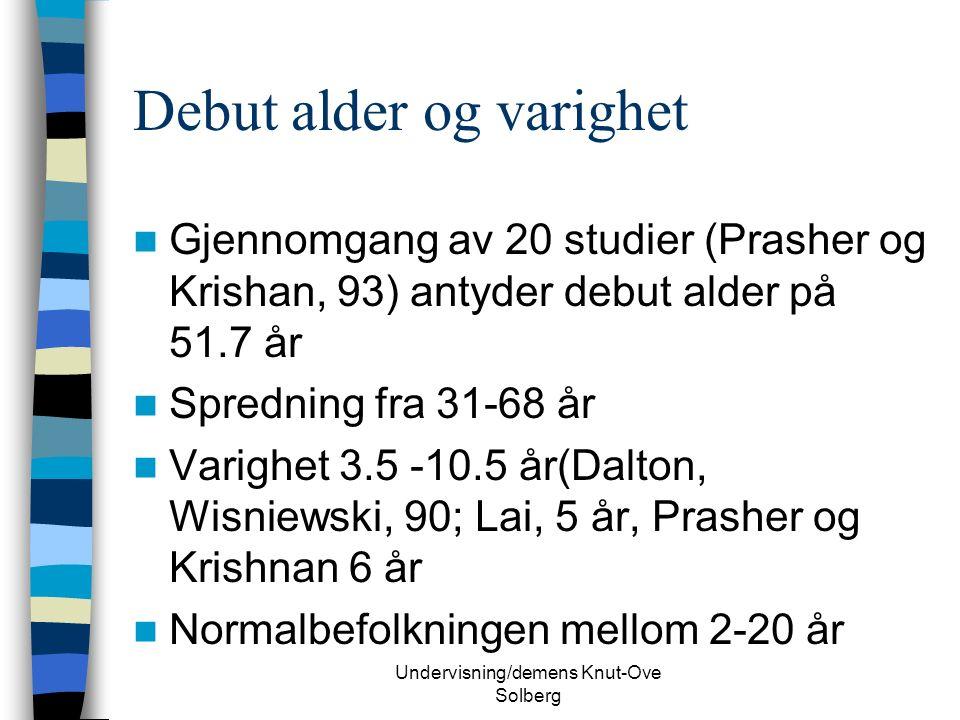 Undervisning/demens Knut-Ove Solberg Debut alder og varighet Gjennomgang av 20 studier (Prasher og Krishan, 93) antyder debut alder på 51.7 år Spredning fra 31-68 år Varighet 3.5 -10.5 år(Dalton, Wisniewski, 90; Lai, 5 år, Prasher og Krishnan 6 år Normalbefolkningen mellom 2-20 år