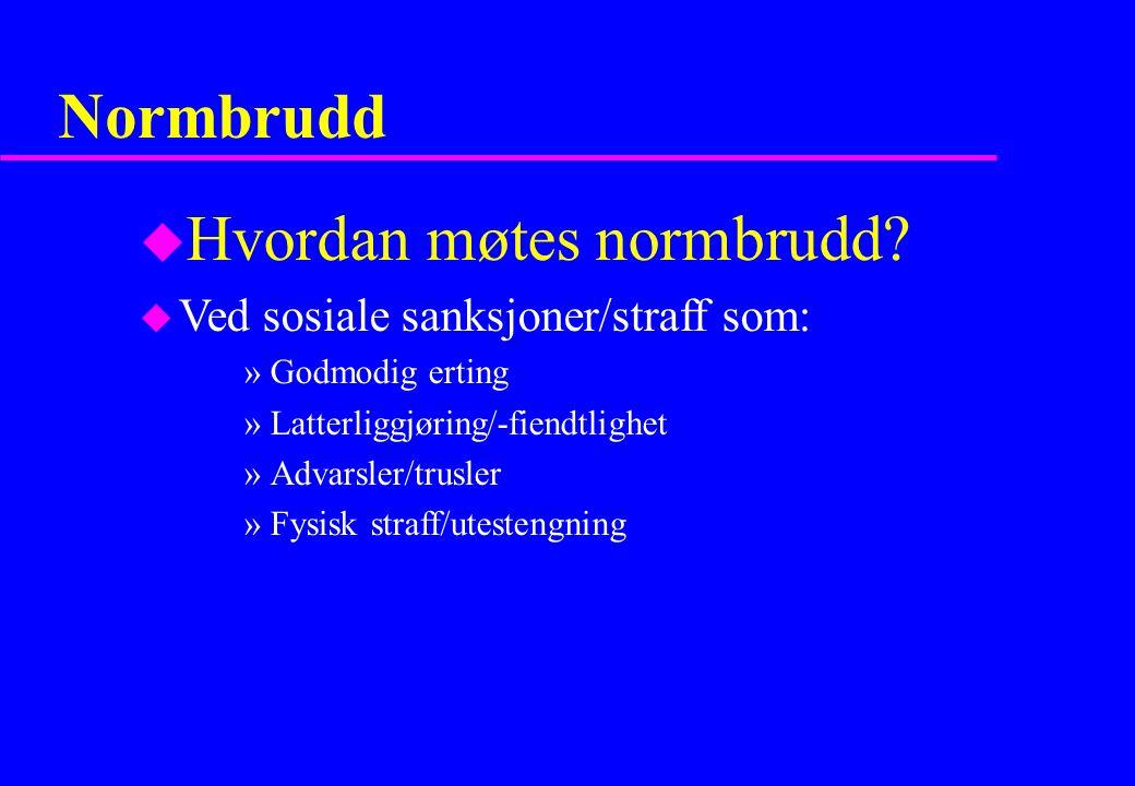 Normbrudd u Hvordan møtes normbrudd.