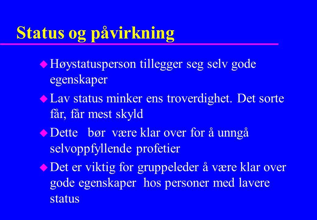 Status og påvirkning u Høystatusperson tillegger seg selv gode egenskaper u Lav status minker ens troverdighet.