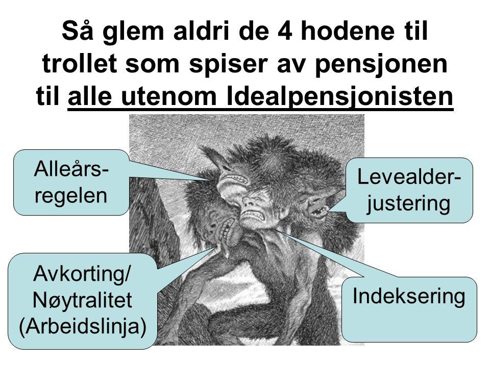 Alleårs- regelen Indeksering Levealder- justering Så glem aldri de 4 hodene til trollet som spiser av pensjonen til alle utenom Idealpensjonisten Avkorting/ Nøytralitet (Arbeidslinja)