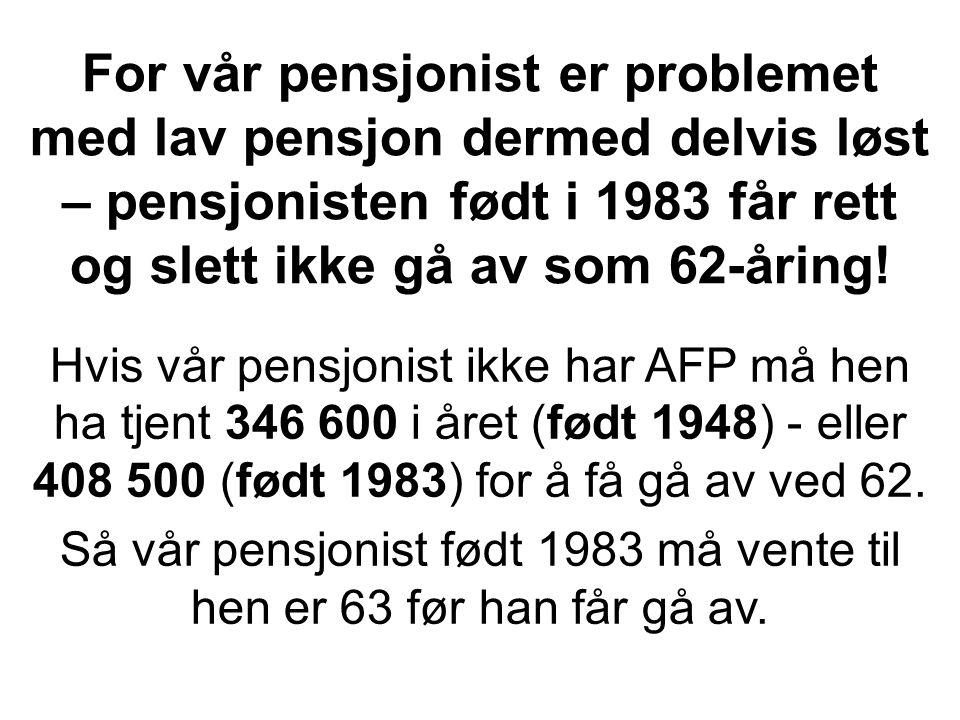 For vår pensjonist er problemet med lav pensjon dermed delvis løst – pensjonisten født i 1983 får rett og slett ikke gå av som 62-åring! Hvis vår pens