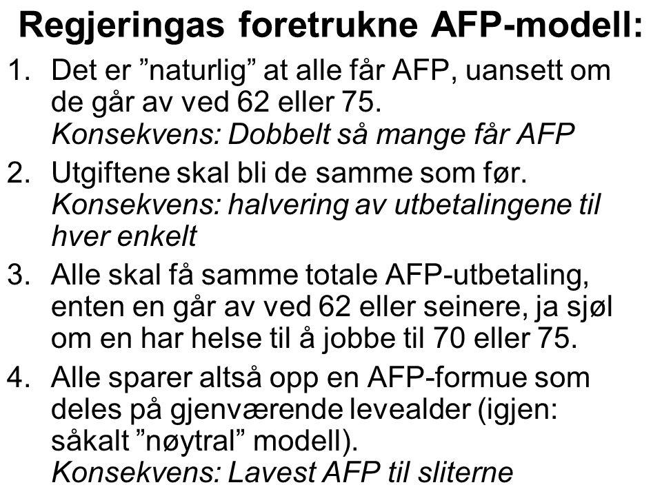 "Regjeringas foretrukne AFP-modell: 1.Det er ""naturlig"" at alle får AFP, uansett om de går av ved 62 eller 75. Konsekvens: Dobbelt så mange får AFP 2.U"