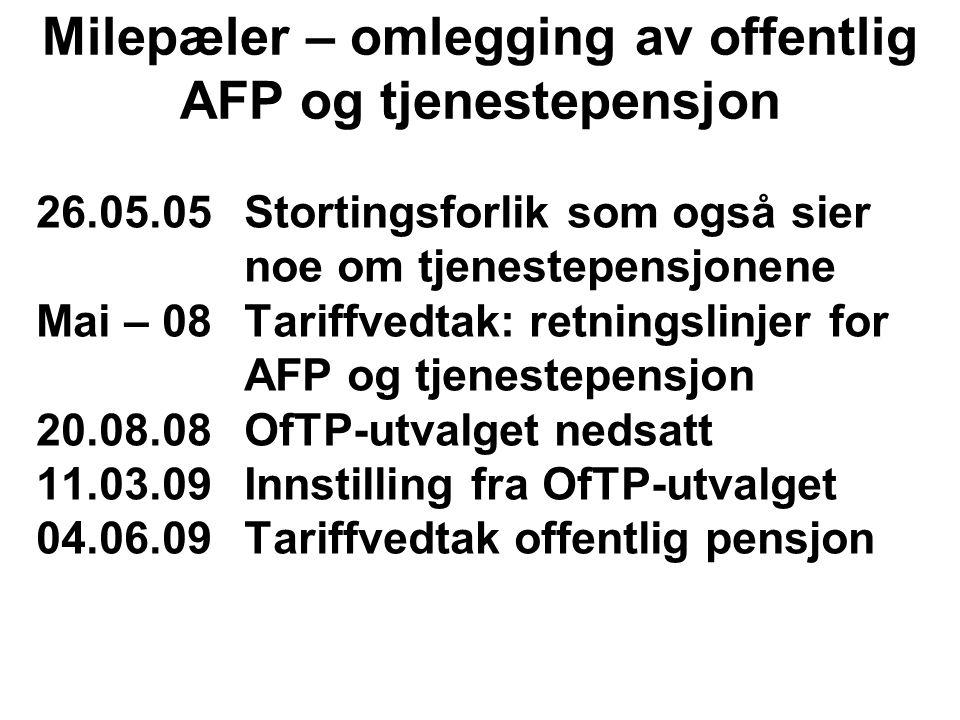 26.05.05Stortingsforlik som også sier noe om tjenestepensjonene Mai – 08Tariffvedtak: retningslinjer for AFP og tjenestepensjon 20.08.08OfTP-utvalget