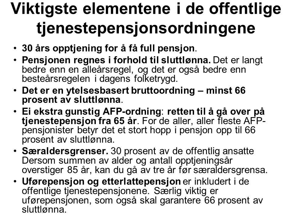 Viktigste elementene i de offentlige tjenestepensjonsordningene 30 års opptjening for å få full pensjon. Pensjonen regnes i forhold til sluttlønna. De