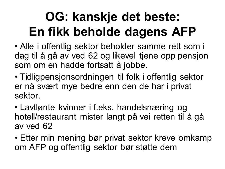 OG: kanskje det beste: En fikk beholde dagens AFP Alle i offentlig sektor beholder samme rett som i dag til å gå av ved 62 og likevel tjene opp pensjon som om en hadde fortsatt å jobbe.