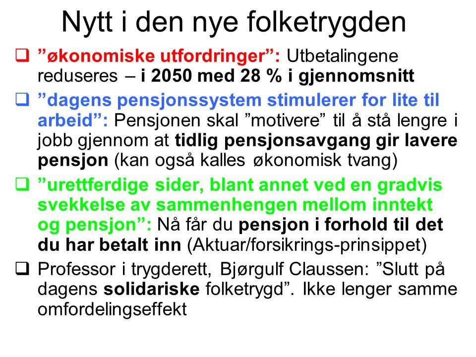 """Nytt i den nye folketrygden  """"økonomiske utfordringer"""": Utbetalingene reduseres – i 2050 med 28 % i gjennomsnitt  """"dagens pensjonssystem stimulerer"""