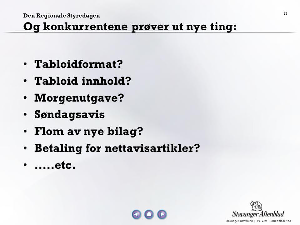 Stavanger Aftenblad | TV Vest | Aftenbladet.no 13 Den Regionale Styredagen Og konkurrentene prøver ut nye ting: Tabloidformat? Tabloid innhold? Morgen