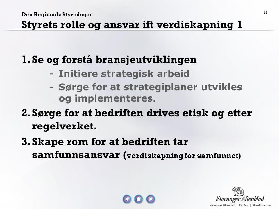 Stavanger Aftenblad | TV Vest | Aftenbladet.no 14 Den Regionale Styredagen Styrets rolle og ansvar ift verdiskapning 1 1.Se og forstå bransjeutvikling