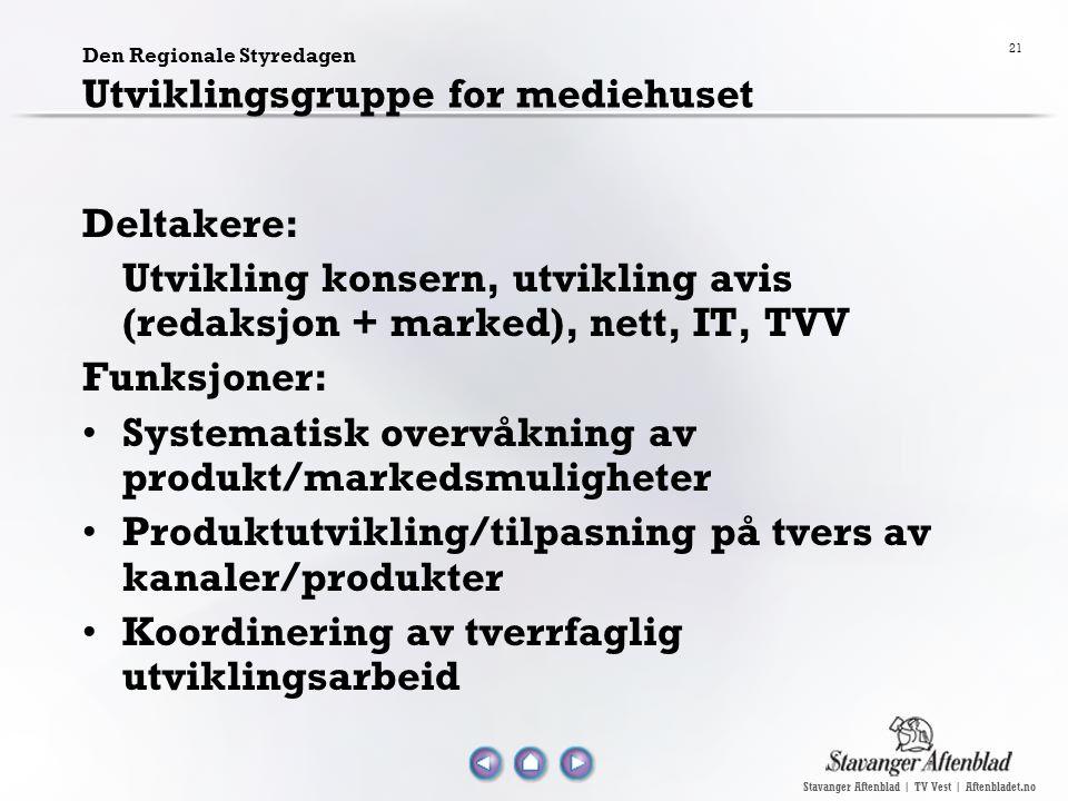 Stavanger Aftenblad | TV Vest | Aftenbladet.no 21 Den Regionale Styredagen Utviklingsgruppe for mediehuset Deltakere: Utvikling konsern, utvikling avi