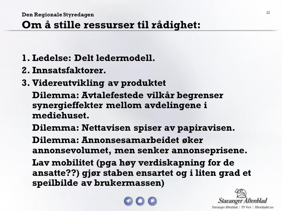 Stavanger Aftenblad | TV Vest | Aftenbladet.no 22 Den Regionale Styredagen Om å stille ressurser til rådighet: 1.Ledelse: Delt ledermodell. 2.Innsatsf