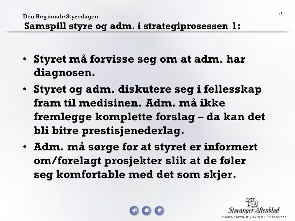 Stavanger Aftenblad | TV Vest | Aftenbladet.no 24 Den Regionale Styredagen Samspill styre og adm. i strategiprosessen 1: Styret må forvisse seg om at