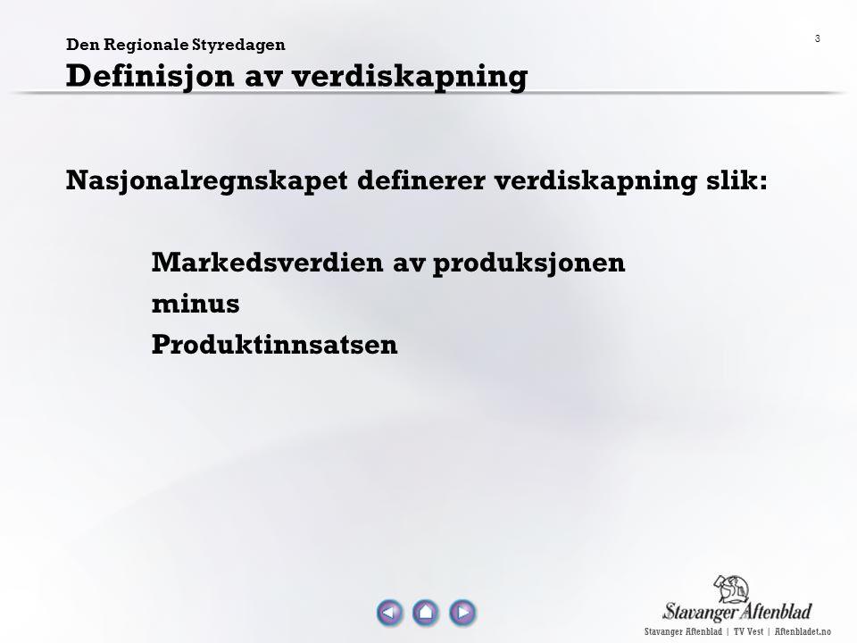 Stavanger Aftenblad | TV Vest | Aftenbladet.no 4 Den Regionale Styredagen Verdiskapningen bestemmes av: De eksterne rammebetingelser for foretaket og de muligheter og risiko disse gir (rentenivå, konkurransesituasjon, konjunkturer, motetrender) Foretakets strategi for verdiskapning, disponible ressurser og de aktiviteter foretaket gjennomfører.