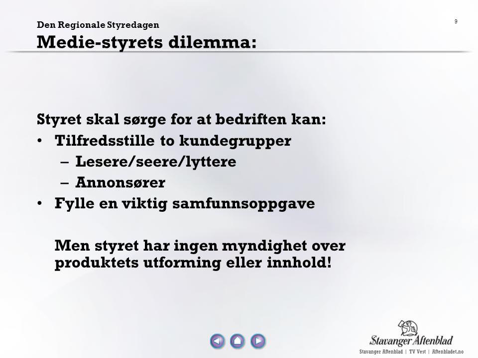 Stavanger Aftenblad | TV Vest | Aftenbladet.no 9 Den Regionale Styredagen Medie-styrets dilemma: Styret skal sørge for at bedriften kan: Tilfredsstill