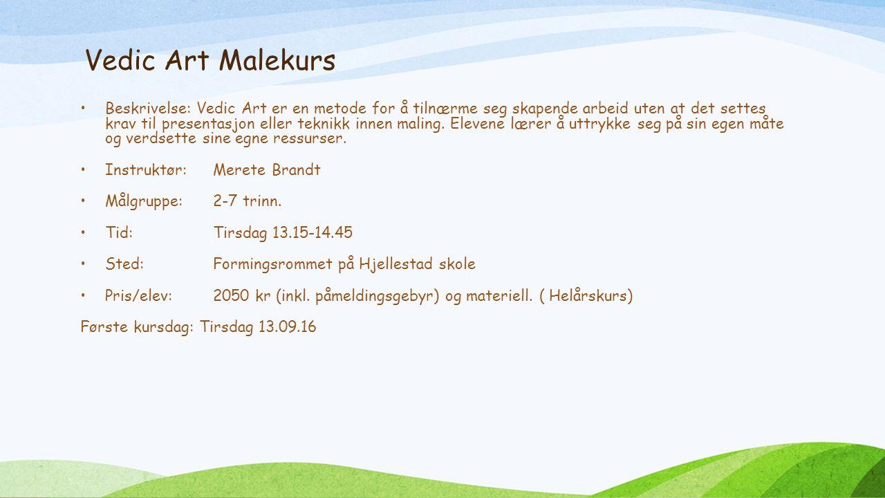 Vedic Art Malekurs Beskrivelse: Vedic Art er en metode for å tilnærme seg skapende arbeid uten at det settes krav til presentasjon eller teknikk innen maling.