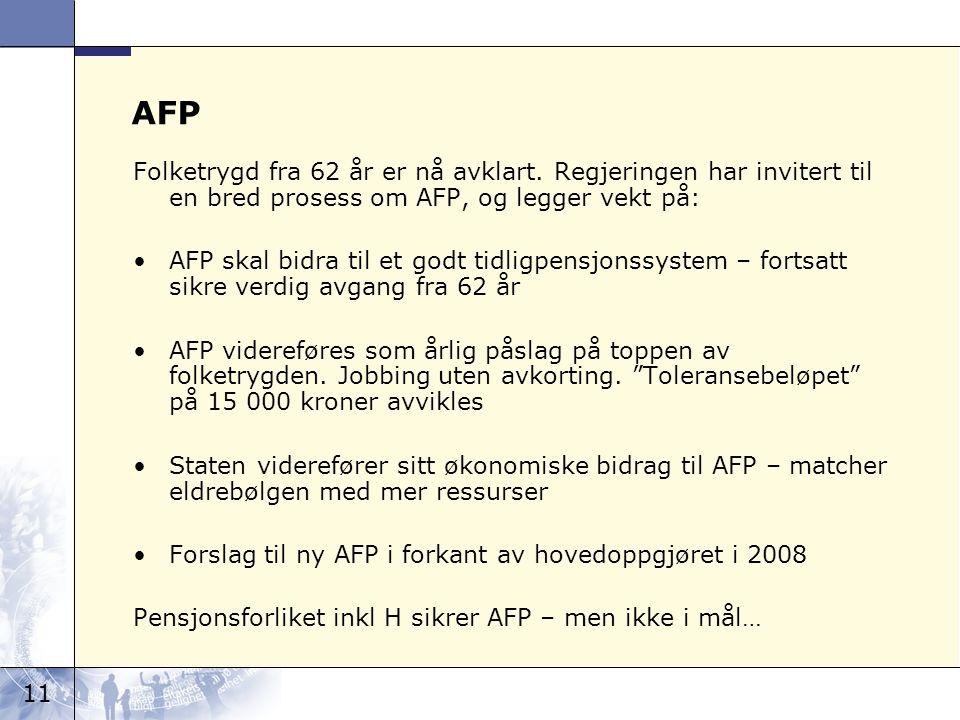 11 AFP Folketrygd fra 62 år er nå avklart.