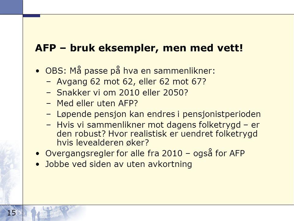 15 AFP – bruk eksempler, men med vett.