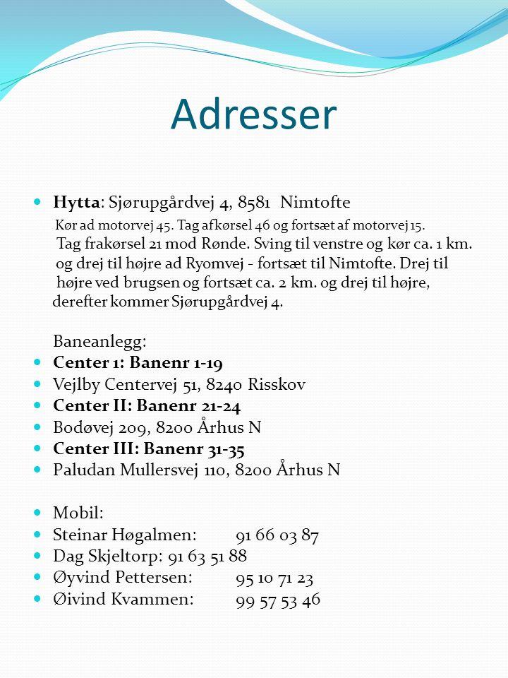 Adresser Hytta: Sjørupgårdvej 4, 8581 Nimtofte Kør ad motorvej 45.
