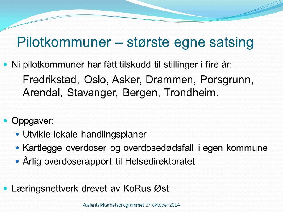 Pilotkommuner – største egne satsing Ni pilotkommuner har fått tilskudd til stillinger i fire år: Fredrikstad, Oslo, Asker, Drammen, Porsgrunn, Arendal, Stavanger, Bergen, Trondheim.